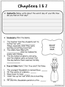 The Bad Beginning: Comprehension and Vocabulary by chapter
