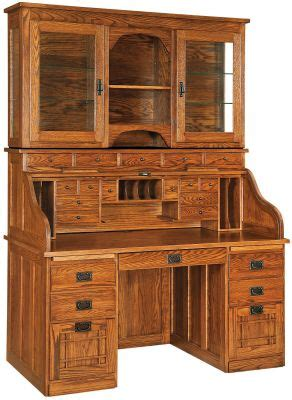 Instructors Roll Top Desk with Hutch - Countryside Amish