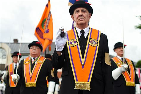 Photos of Orange Order march in Belfast and bonfires