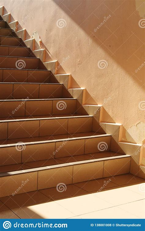 Sun Shining On The Stairs, Soft Morning Light Stock Photo