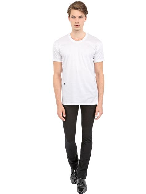 Dior homme Bee Embroidered Jersey T-Shirt in White for Men